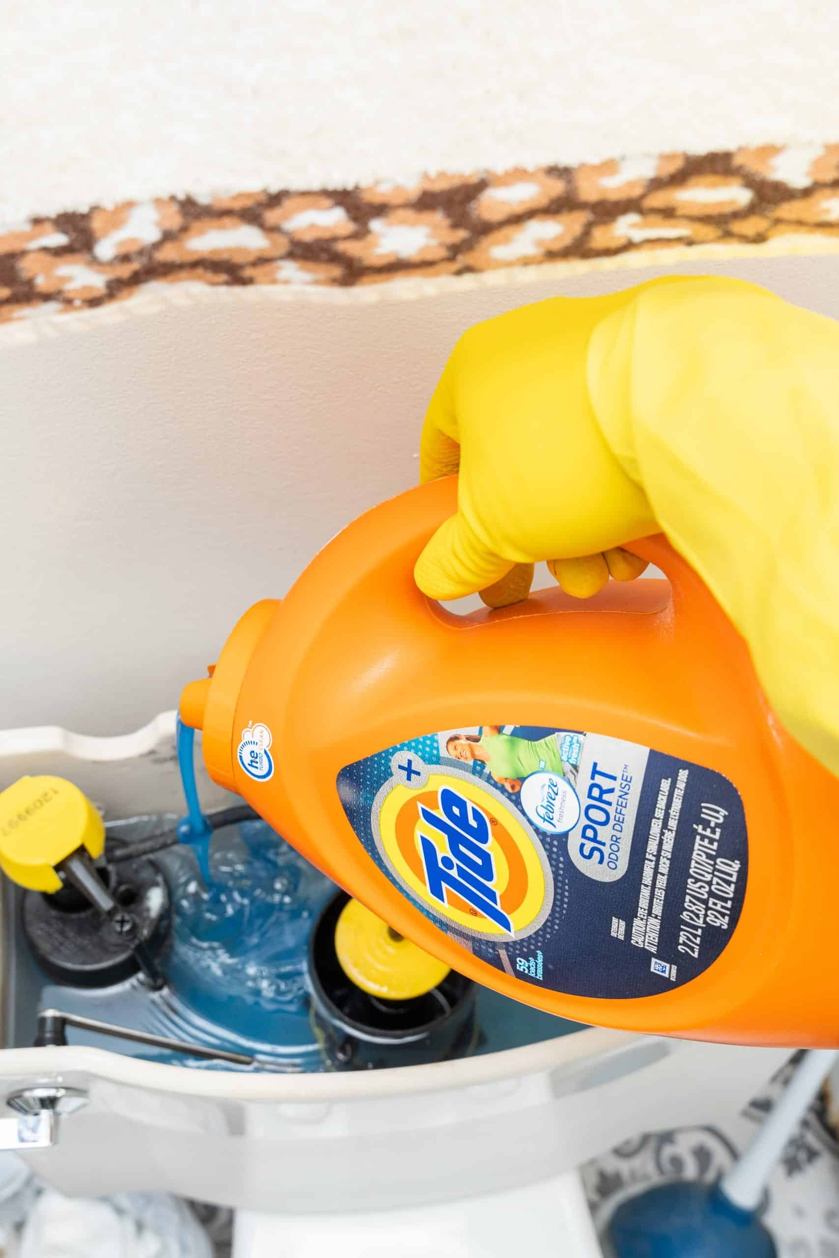 laundry detergent in the toilet tank